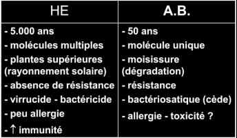 comparaison HE Antibiotiques
